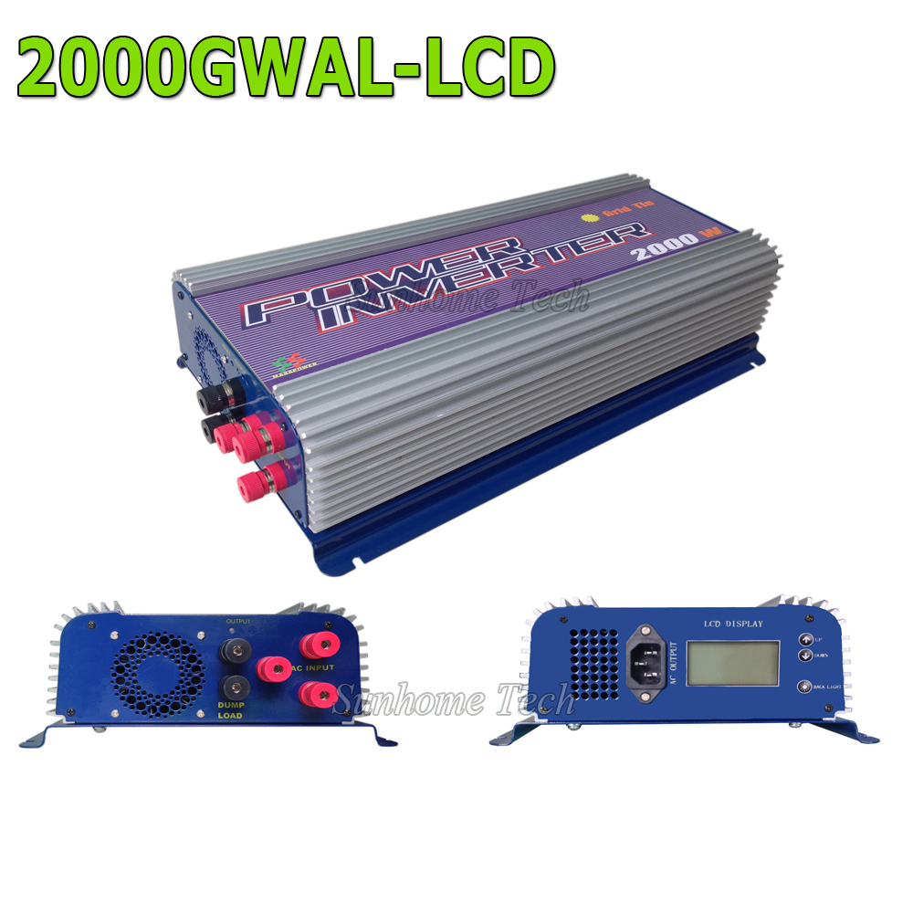 wind grid tie inverters 2000W with dump load for 3phase AC wind turbine 45-90V, LCD MPPT pure sine wave inverter for wind power(China (Mainland))