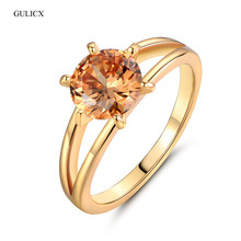 GULICX 2017 Fashion Finger Promise Ring Gold-color Finger Ring Yellow Crystal Cubic Zirconia Engagement Ring For Women R022