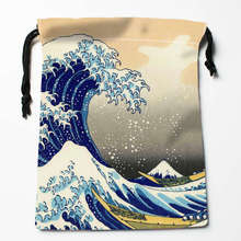 New Arrival Great Wave off Kangawa Drawstring Bags Custom Storage Printed Receive Bag Type Bags  Storage Bags Size 18X22cm