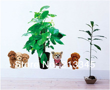 [Fundecor] Human loyal friend cartoon poodle dog dog green flower pots planters living room home wall stickers deocr
