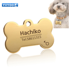 YVYOO Stainless steel Pet dog collar accessories customized dog cat ID tag name telephone Free engraving Multiple languages AA