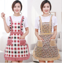 Free shipping Women Chefs Kitchen Cooking Apron Simple Flower Pattern Design pinafore Great Gift(China)