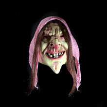 Full Face Scary Scarf Wrinkles Old Witch Latex Female Mask Horror Masquerade Adult Ghost Halloween Props Costumes Fancy Dress