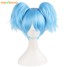 "MapofBeauty 12""/30cm Sky Blue green Short straight Wigs two shape Claw ponytail cosplay wig Heat Resistant Synthetic hair peruca"