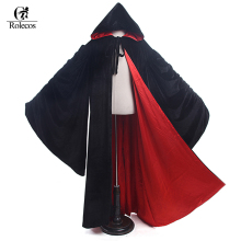Rolecos 2017 New Arrival Black Hooded Cloak Cape Witch Cosplay Costume Unisex Halloween Costume for Men and Women(China)