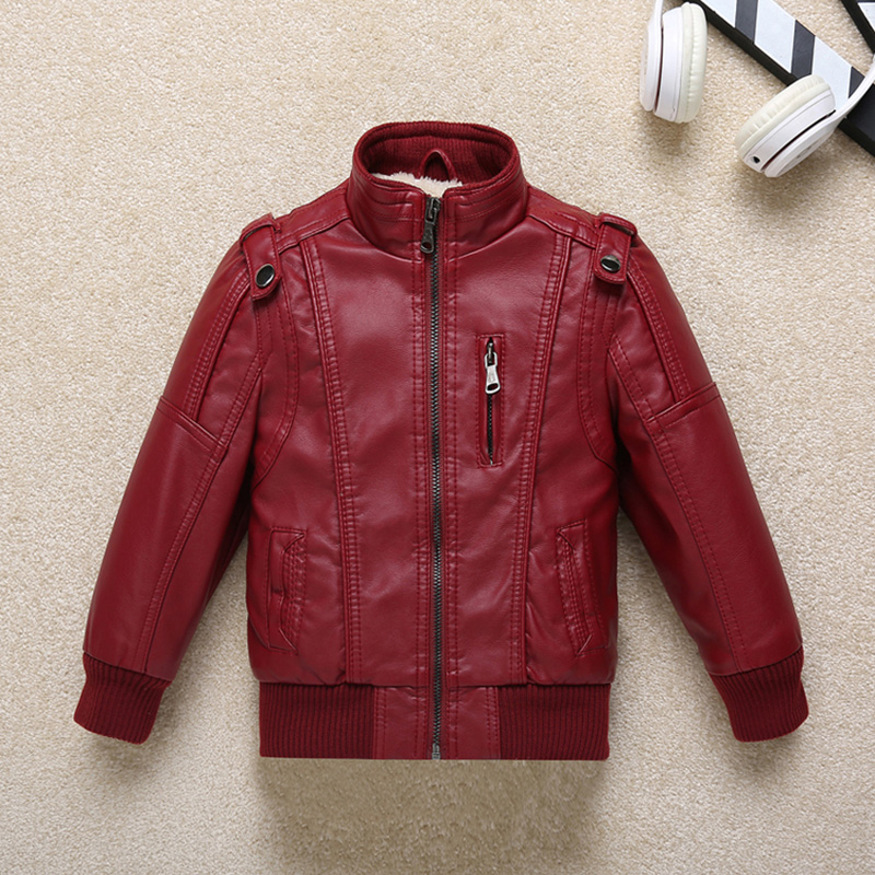 2018 New Arrivals Boys Pu Leather Jacket New Childrens Clothing Autumn And Winter Plus Velvet Children Jackets <br>
