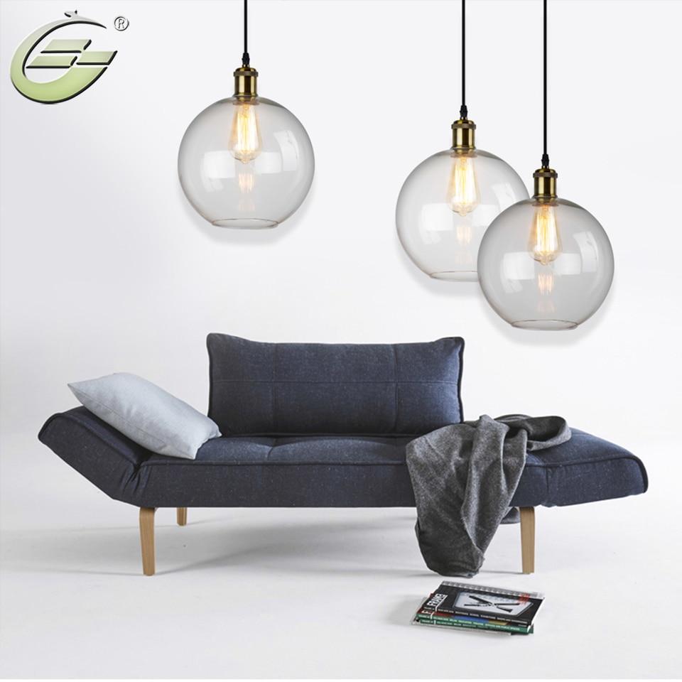 Loft Industrial Iron Pendant Lights  Retro Transparent Glass Ball Lamp Home Decoration Living Room Bar Coffee Shop<br><br>Aliexpress