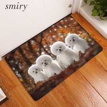 Smiry Wrinkle-Resistant Cute Pet Dog Welcome Home Entrance Door Mat Bichon Frise Dog Mats Living Room Carpet Light Foot Rugs