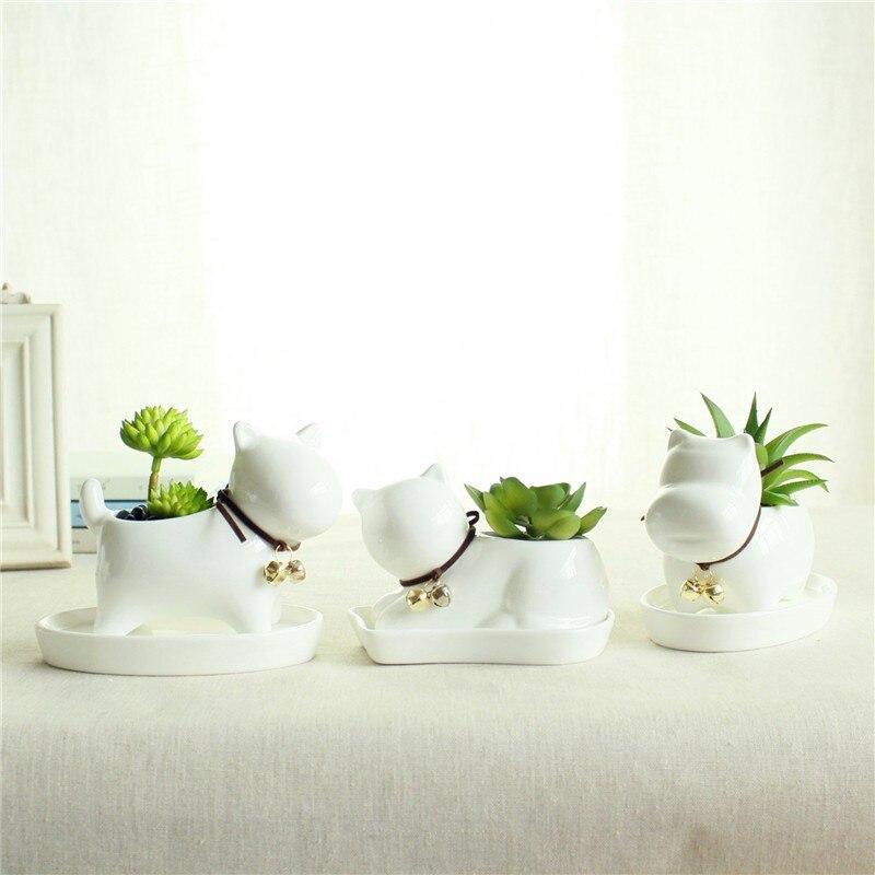 Cute Animal Potted Flowers Gardening Succulents Planter Pot White Ceramic Flowerpot Lovely Animal Succulent Plants Flowerpot 18