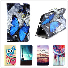 Cartoon Elephant Owl Tower Design Leather Cell Phone Flip Stand Wallet Case Cover For Samsung Galaxy Tab 4 7.0 T230 T231 Tablets