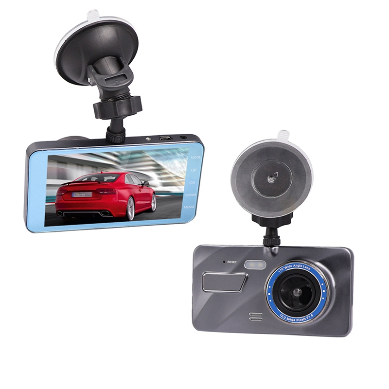 "Dash Cam New Dual Lens Car DVR Camera Full HD 1080P 4"" IPS Front+Rear Blue Mirror Night Vision Video Recorder G-sensor Motion"