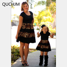 Fashion Family Set Above Knee Leopard Mother Daughter Dress Mom and Daughter Dresses Clothes Family Clothing Summer