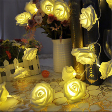 20LED Light String Fairy Rose Lamp Garland Valentine's Day Wedding Party Decor Holiday Lighting Artificial Flowers light Battery