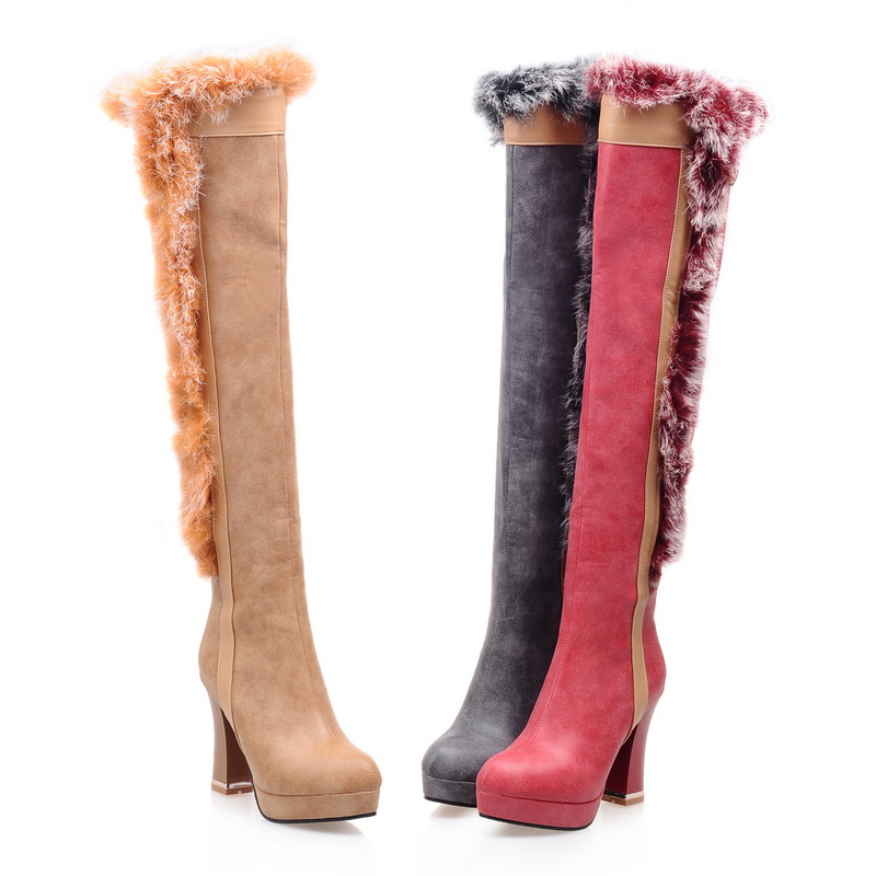 2016 Winter Boots Shoes Woman Over the knee High Boots Chaussure Femme Women Fur Boots Thigh High Boots Leather Boots Winter<br><br>Aliexpress