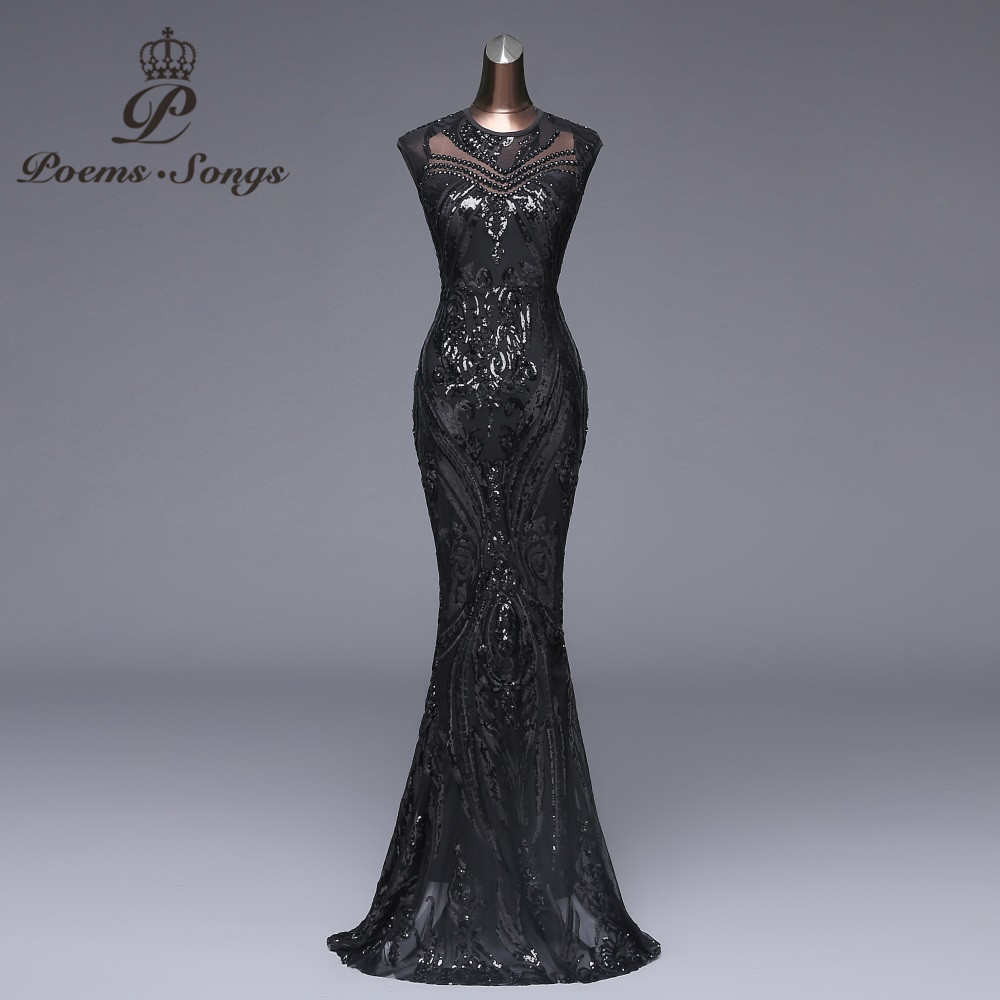 Poems songs New Elegant Long black Sequin Evening Dress vestido de festa Sexy Backless robe longue prom gowns Formal Party dress(China)