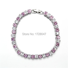 New Spring High Quality Brand Rhodium plated Zircon Bracelet Sapphir pink Gem Cubic Zirconia red Tennis Jewelry For Women