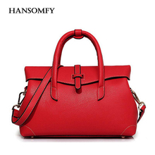 HANSOMFY Women Litchi Pattern Leather Handbags Lady Embossed Leather Bag New Female Simplicity Fashion Flip Shoulder Bags sac