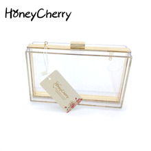 New 2015 Acrylic Transparent Women Clutch Bag Chain Luxury Brand Women Messenger Bags Evening Handbag clear woman bag(China)