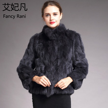 Women Genuine Rabbit Fur Coats Solid Female Stand Collar Rex Rabbit Fur Coat Winter Fashion Real Fur Overcoat Jackets 13 Colors