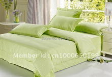 classic combed cotton satin band green color bed flatsheet bedding set duvet cover set bed linen