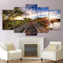 Canvas Wall Art HD Printed Modern Frame Posters 5 Pieces Blue Sky Railway Sights Sunset Tree Painting Home Decor Pictures PENGDA