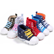 Classic Baby Shoes Sneakers Casual bewborn Kids Bebe Crib High Top Boots Print Handsome Soft Soled Anti-Slip Booty Footwear