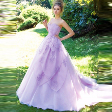 2016 Modern Women Princess Wedding Dress Organza Bruidsjurken Mariage Bridal Gowns Gelinlikler Lavender Purple Wedding Dresses