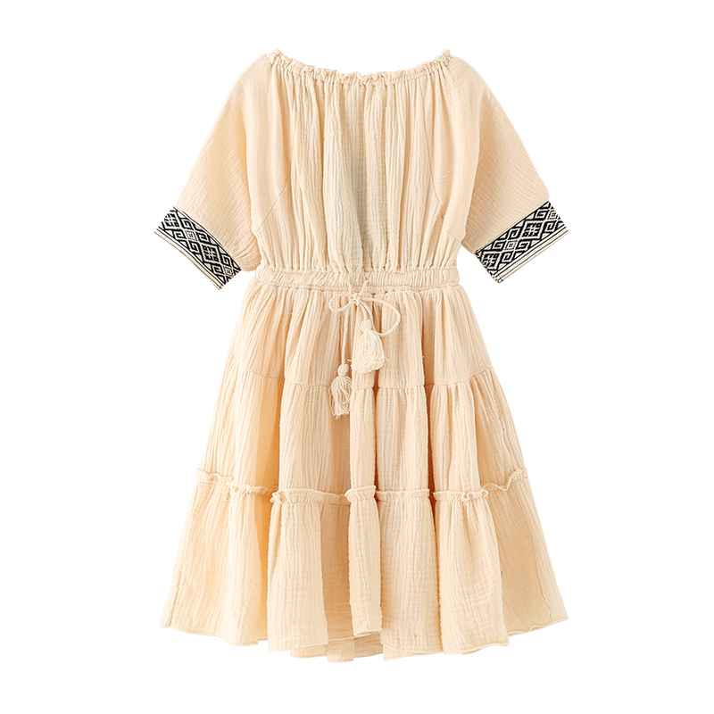 Toddler  Casual Tassel Tie Clothing Baby Girls beach dress Boutique Cotton Liner Teenage long Dresses for 4-14y Kids<br><br>Aliexpress