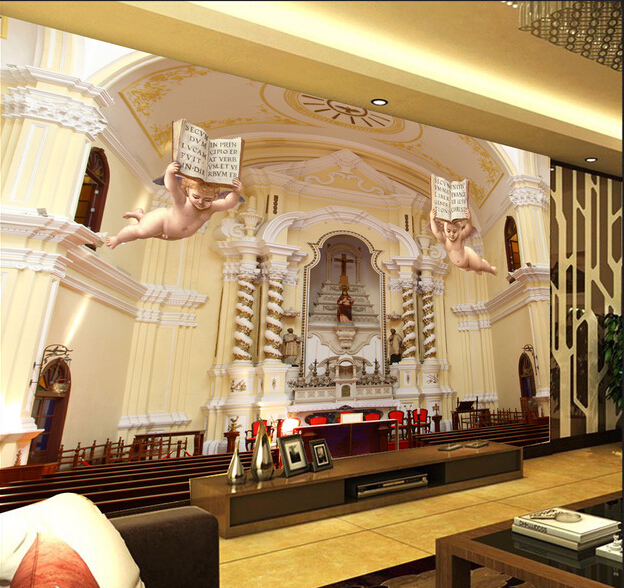 Latest custom 3D large mural,Luxury european-style 3 d angels ,living room tv background bedroom wall wallpaper<br>