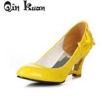 Qin Kuan Women Wedding Shoes High Heels Pumps Bowtie Patent Leather Ladies Bridal Wedge White  Shoes Plus Size 34-43