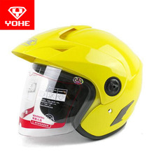 2017 summer New YOHE Half Face motorcycle helmet Electric bicycle motorbike helmets made of ABS with brim have 8 kinds of colors(China)