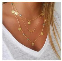 xl616 Europe and America personality simple multi-wafer geometry 8 characters necklace Clavicle chain