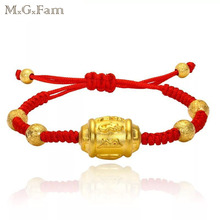 MxGxFam Fashion Pure Gold Color Handmade Weave Red Rope Bracelet Jewelry Buddha Six Words OM MANI PADME HUM(China)