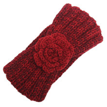 Trendy Head Wear Turban Womens Knit Headband Crochet Flower Ear Warmer Hairband Winter Headwrap Dark Red Navy Gray Khaki Brown