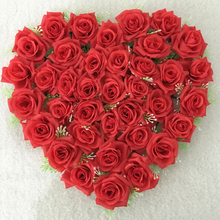New 21 Colors 40X40cm Artificial Silk Flower Wedding Car Decoration Heart Shaped Door Wreaths New Wedding Decoration Car Red