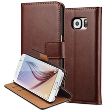 Genuine Leather Case For Samsung Galaxy S6 G9200 Wallet Style Flip Phone Bag Cover Case For Samsung Galaxy S6 Coque Stand Design(China)