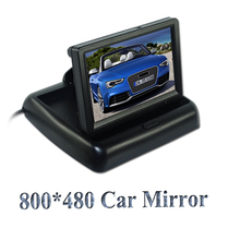 "Factory sell Rear View Camera Parking 2ch Video 4.3 "" Foldable Tft Lcd Color Camera Rearview Mirror Car Monitor , free Shipping(China)"