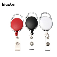 Kicute 1pc Retractable Pull Key Ring ID Badge Name Tag Lanyard Card Holder Recoil Reel Belt Clip Metal Housing Supplies(China)
