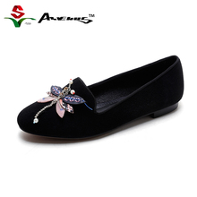 Anvenus Quality Women's Fashion Genuine Leather Flats Ladies Elegant Custom Handmade Cute Dragonfly Casual Flock Flat Heel Shoes(China)