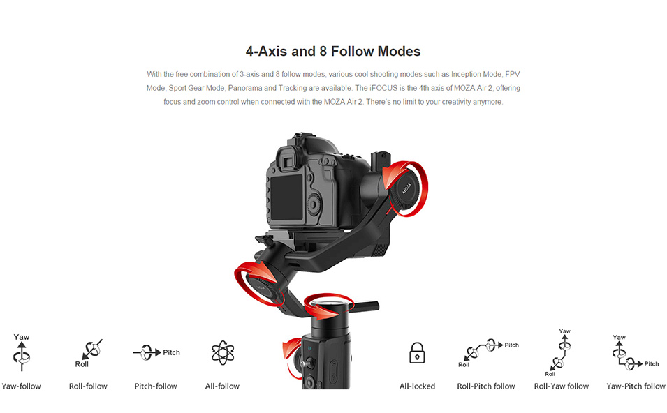 DIGITALFOTO Moza Air 2 Maxload 4.2KG DSLR Camera Stabilizer 3 Axis Handheld Gimbal for Canon Nikon PK DJI Ronin S Zhiyun Crane 2 6