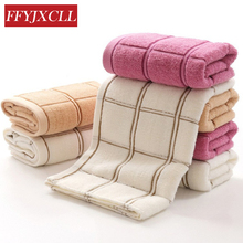 Jacquard Plaid 34*76 cm Soft 100%Cotton Terry Hand Towels for Adults Decorative Face Bathroom Hand Towels Toallas de Mano(China)