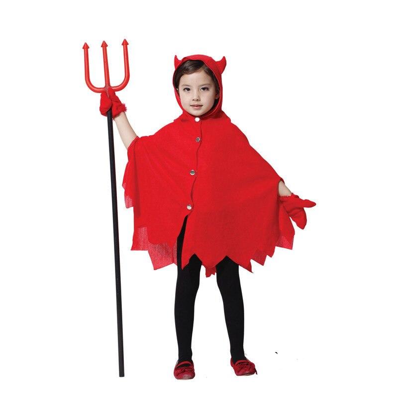 Halloween Costumes Girls Cosplay 2 pcs cloak+gloves Sets Red Little Devil Show Clothes Kids Skirt Suit HoodedCloak<br><br>Aliexpress