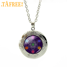 TAFREE 2017 Brand new classic pendant metatrons cube chakras cosmic energy center energy locket necklace men women jewelry T729(China)