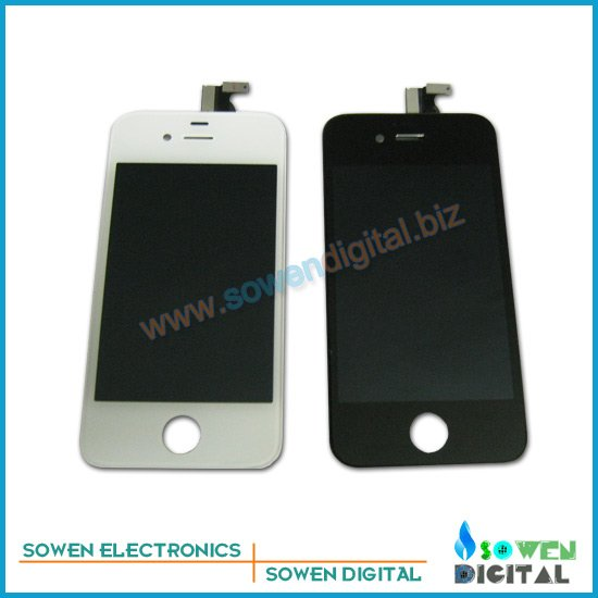 For iPhone 4S LCD Display+Touch Screen Glass +Frame,100%  LCD,10pcs/lot,DHL or UPS  ,100% gurantee no spot<br>