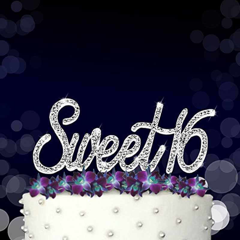 Gold Silver Rhinestones Sweet 16 Cake Topper Boy Girl 16th Birthday Party Anniversary Decoration Favor Supplies