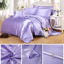 Duvet Cover Set Bedclothes Bed Sheet Set Classic 100% Polyester Feel Satin Solid Coffee Pink Purple Bedding Set Queen/King Size
