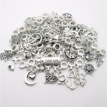 Buy New mix 50pcs Tibetan Silver charms European bead Charm fit pandora style Bracelets Necklace DIY Metal Jewelry Making for $5.52 in AliExpress store