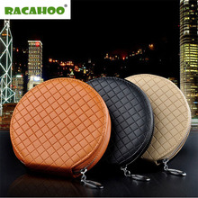 RACAHOO New Fashion Car Lattice CD Box For DVD Case Automotive Supplies Storage Box Home Car Holder High Quality Leather CD Bag(China)