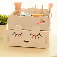 New Cute Wooden Cosmetic Organizer Drawer Makeup Case Storage Box Desktop Organize For Students rangement with Big eyes