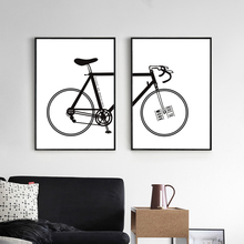 1 Set(2 Pieces) Modern Minimalist Canvas Print Painting Poster of Black and White Bicycle,Unframed Wall Picture of Bike to Work(China)